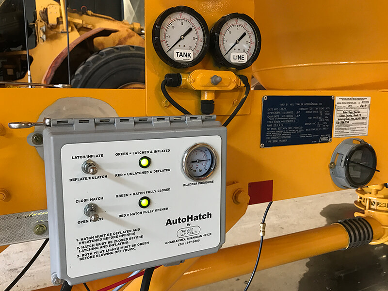 Autohatch™ PLC panel controls the opening and closing of the hatch